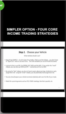 Simpler Option – Four Core Income Trading Strategies
